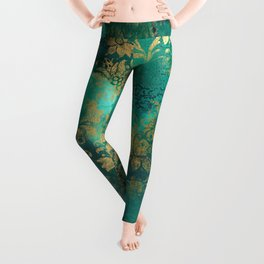 Pretty Green Watercolor With Gold Distressed Floral Leggings