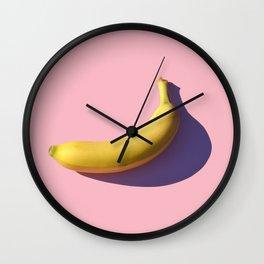 banana on pink Wall Clock