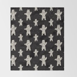 Polar Bear in Winter Snow on Black -Wild Animals-Mix and Match with Simplicity of Life Throw Blanket