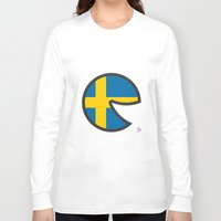sweden Long Sleeve T-shirts featuring Sweden Smile by onejyoo