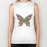 psychedelic art Biker Tanks featuring Butterfly Psychedelic Art Design by BluedarkArt