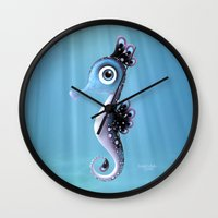 seahorse Wall Clocks featuring Seahorse by Heidy Curbelo