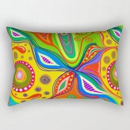 Folk Art Doodle Abstract Painting Rectangular Pillow