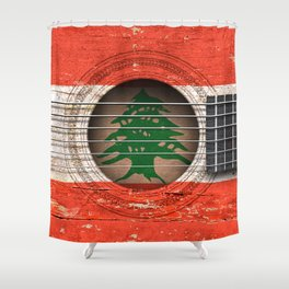 Old Vintage Acoustic Guitar with Lebanese Flag Shower Curtain