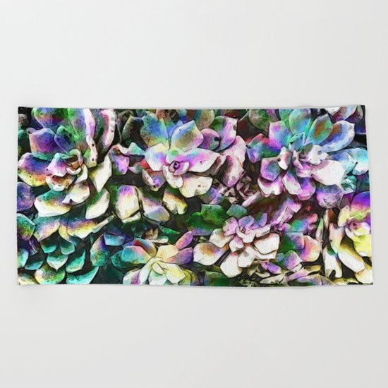 Colorful Abstract Plants Beach Towel