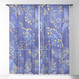 Butterfly Pattern Blue Sheer Curtain