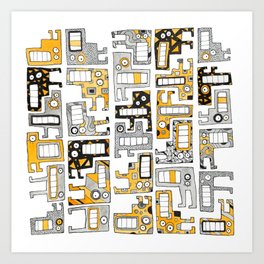 Tetris monsters yellow and grey Art Print