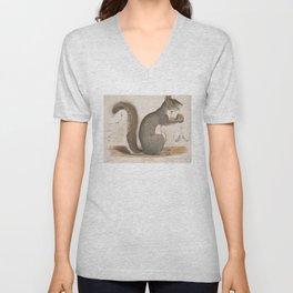 Vintage Illustration of a Grey Squirrel Unisex V-Neck