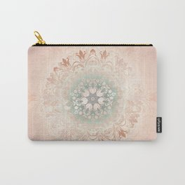 Rose Gold Blush Mint Floral Mandala Carry-All Pouch