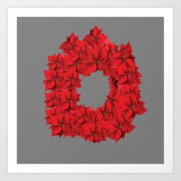 RED CHRISTMAS POINSETTIAS FLOWER WREATH DECORATIONS Art Print