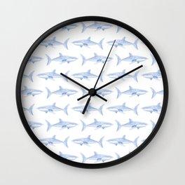 Blue Shark Pattern Wall Clock