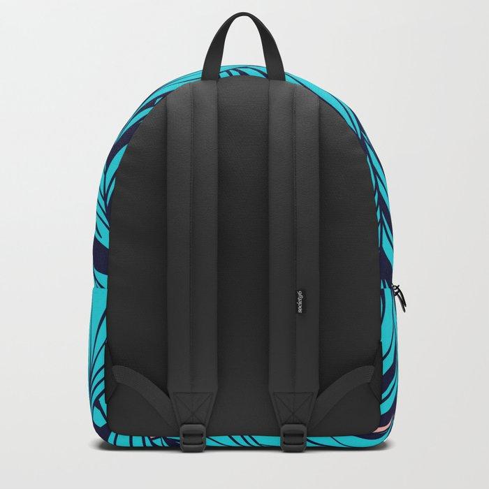 Blue Banana Leaf Pattern Backpack