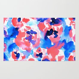 Abstract Flora Blue Rug