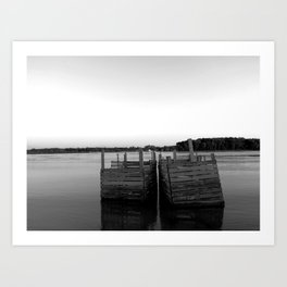 Crates in the Mississippi Art Print