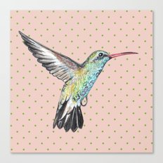 Hummingbird and polka dots Canvas Print