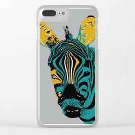 Zebra on grey Clear iPhone Case