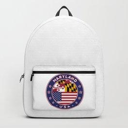 Maryland, Maryland t-shirt, Maryland sticker, circle, Maryland flag, white bg Backpack