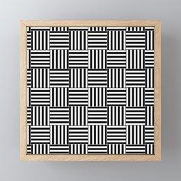 Pattern Bandes Blanche/Noir Abstrait Framed Mini Art Print