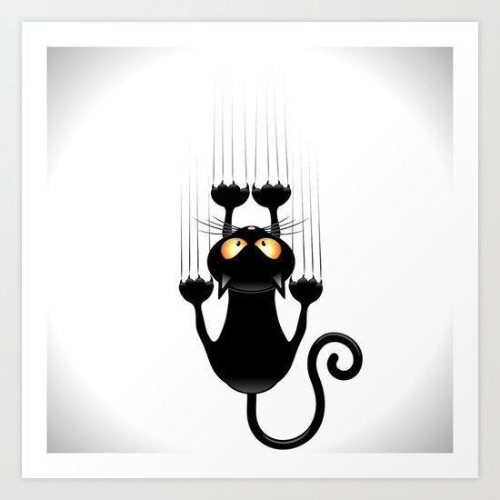 Cat Wall Art black cat cartoon scratching wall art printbluedarkart | society6