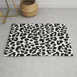 Black and White Leopard Rug