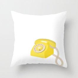 Yellow Vintage Phone // Retro Telephone Illustration Throw Pillow