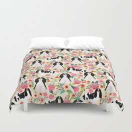 Cavalier King Charles Spaniel floral flowers dog breed pattern dogs Duvet Cover