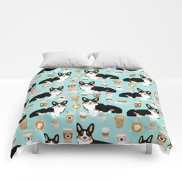 Welsh Corgi tri colored coffee lover dog gifts for corgis cafe latte pupuccino Comforters