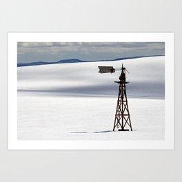 Windmill in Snowy Field Art Print