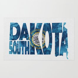 South Dakota Typographic Flag Map Art Rug