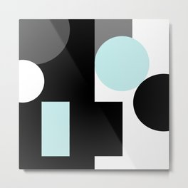An abstract geometric pattern . Geometric shapes . Black sky blue white pattern . Metal Print