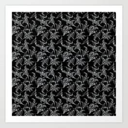 Black Vintage-Style Lily-of-the-Valley Pattern Art Print