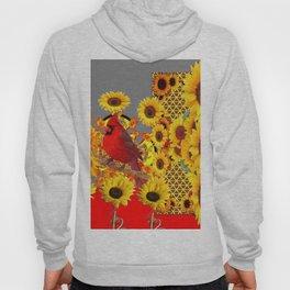 MODERN ABSTRACT RED CARDINAL YELLOW SUNFLOWERS GREY ART Hoody