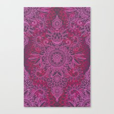 Magenta, Pink & Coral Protea Doodle Pattern Canvas Print