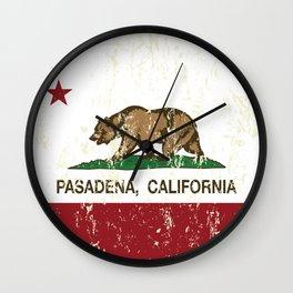 Pasadena California Republic Flag Distressed Wall Clock