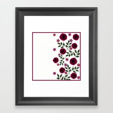Bright red roses on a white background. Framed Art Print