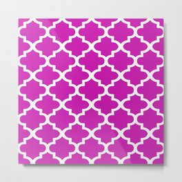 Arabesque Architecture Pattern In Pink Metal Print