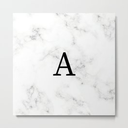 Black & White Marble with letter A Metal Print