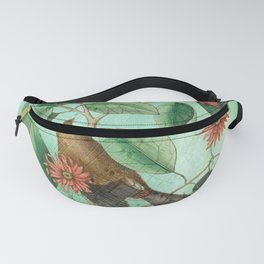 Bohemian Waxwing with Carolina Allspice, Antique Natural History Collage Fanny Pack