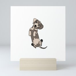 Happy dachshund illustration Mini Art Print