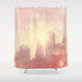 downtown Los Angeles skyline photograph. City of Lights Shower Curtain