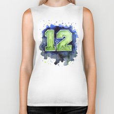 12th Man Seahawks Seattle Go Hawks Art Biker Tank