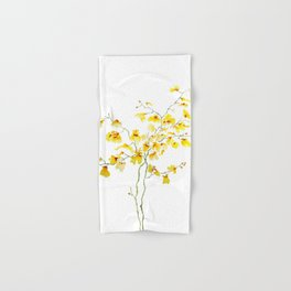 yellow Oncidium Orchid watercolor Hand & Bath Towel