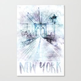 Modern Art NYC Brooklyn Bridge | watercolor Canvas Print