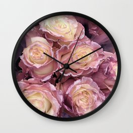Princess-Pink Pastel Roses With Glitter Trim Wall Clock