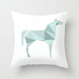Blue Horse by Frzitin Throw Pillow