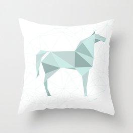 Blue Horse by Frzitin Throw Pillow