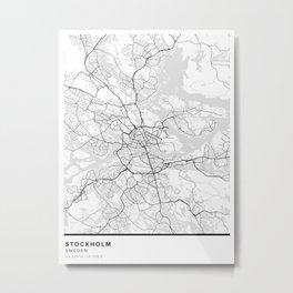 Stockholm Simple Map Metal Print