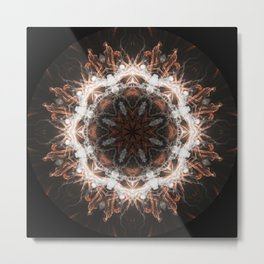 Happy New Year Gold fireworks with smoke mandala Metal Print