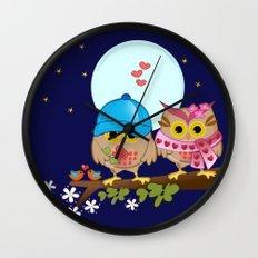 Blue moon Valentine's Owls Wall Clock