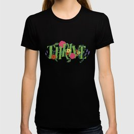 Floral Word Thrive in Midcentury Lettering T-shirt
